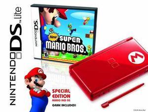 Nintendo Ds Lite Edición Limitada Rojo Mario Con Nuevo Súp