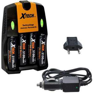 Cargador De Baterías Xtech 3100mah, Para 4 Baterías Aa Y