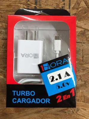 Turbo Cargador Usb Con Cable Micro Usb 5v 2a Marca 1hora