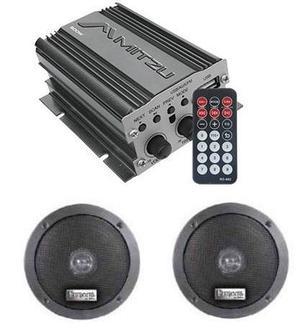 Amplificador 500w Usb Fm Control Auto Moto Mas Bocinas 76