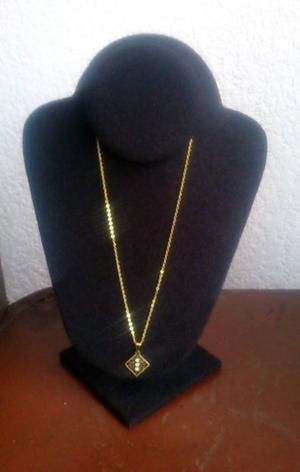 Cadena y Dije Rombo y Zirconias Chapa Oro 18 Kt 44 cms Nvo