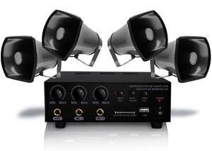 Pack Perifoneo 4 Trompetas Con Amplificador Profesional Usb