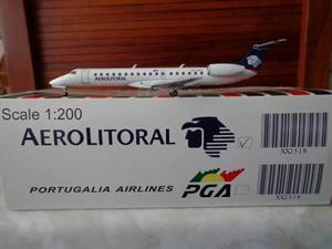 Avion Erj-145 De Aerolitoral En Escala 1:200 Marca Jc Wings
