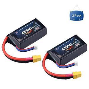 Melasta 2 Paquetes De 11.1v 1500mah 40c Rc Lipo Batería Con