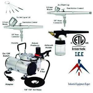 Nueva 3 Del Aerógrafo Y Kit De Compresor Aire Doble Acción