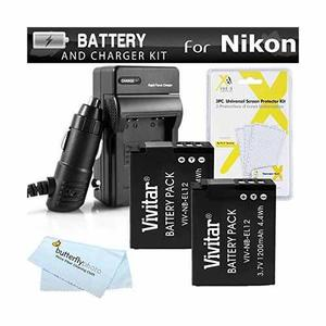 2 Batería Y El Cargador Kit Para Nikon Coolpix S, A900,