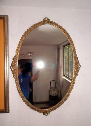 Antiguo Espejo Con Marco De Bronce 50s