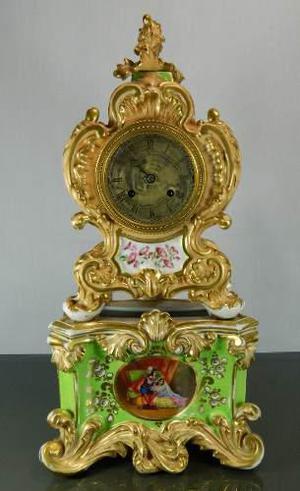 Antiguo Reloj Porcelana Francesa Estilo Viejo París