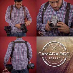 Arnés Correa De Piel Para 2 Cámaras Fotográficas.