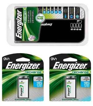 Cargador + 2 Baterias 9v Recargables Energizer Blakhelmet E