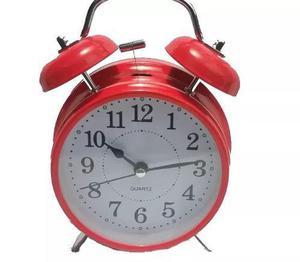Reloj Despertador Metal Rojo Estilo Retro Antiguo