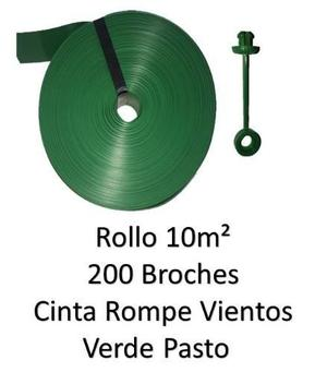 Cinta Rompe Vientos Verde Pasto 10m2 Y 200 Broches Vp-b-10