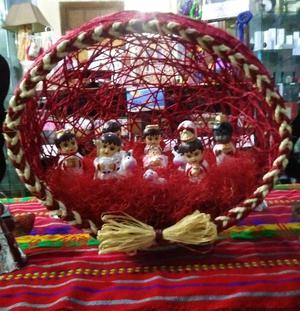 Nacimiento ceramico en esfera de cordel