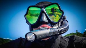 Visor Mares Profesional Negro Espejeado Dorado Buceo Snorkel
