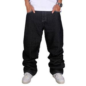 Hombres 's De Moda Jeans Derecho Flojos Dril Plancha De Hiph