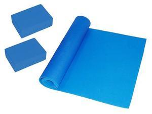 Kit 1 Tapete Mat (6mm) Y 2 Bloques Para Yoga De Goma Eva