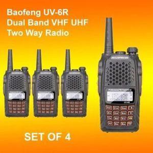 Paquete De 4 Radios Baofeng Uv-6r Vhf/uhf Doble Banda 7w