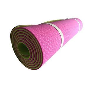 Tapete Yoga Doble Capa Grueso 6mm Bolsa Rosa Suave Pilates