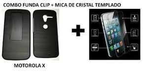 Combo Funda Clip Motorola Moto X + Mica De Cristal Templado