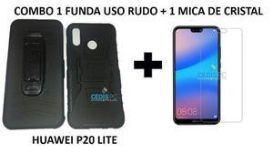 Combo Funda De Uso Rudo Huawei P20 Lite + Templado