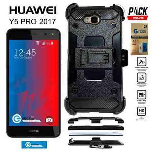 Funda Clip Uso Rudo 3n1 Huawei Y5 2017 Y5 Pro + Mica Cristal