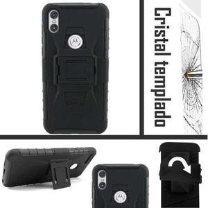 Funda Motorola One / Play Uso Rudo Protector Clip + Cristal