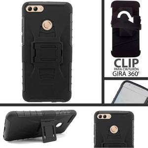 Funda Protector Uso Rudo Clip Huawei Y9 2018 C/mica Cristal