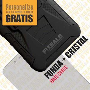 Funda Protector Uso Rudo Con Clip + Cristal Lg K10 2017 M250
