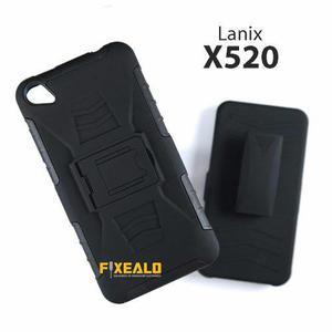 Funda Protector Uso Rudo Resistente Case Con Clip Lanix X520