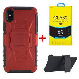 Funda Uso Rudo Clip Apple Iphone X / 10 + Mica Cristal Templ