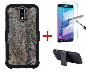 Funda Uso Rudo Clip Motorola Moto G4 / G4 Plus + Mica Crista
