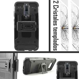 Funda Uso Rudo Clip Tipo Metal Huawei Mate 10 Lite 2 Cristal