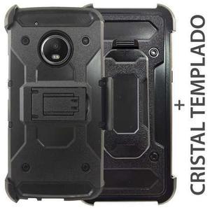 Funda Uso Rudo Clip Tipo Metal Mica Cristal Moto G5 Plus