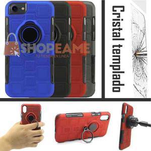 Funda Uso Rudo Magnético Clip + Cristal Iphone 6 7 8 10 X