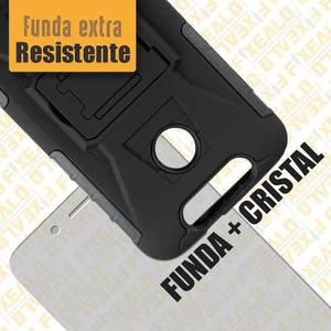 Funda Zte V8q Protector Uso Rudo Resistente Clip + Cristal