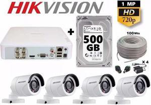 Kit Circuito Cerrado 4 Cámaras Cctv Hikvision 500gb Utp