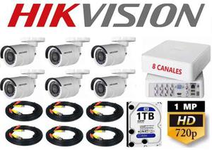 Kit Video Vigilancia 6 Cámaras Hd 720p Hikvision 1 Tb