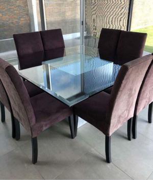 Bonito comedor 8 sillas mesa de cristal biselado y muy