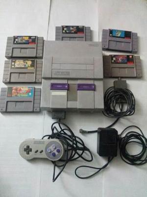 Consola Super Nintendo Y 3 Juegos, Control Y Cables
