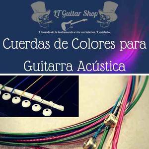 Cuerdas Para Guitarra Acústica De Colores