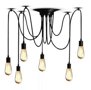 Lámpara Colgante De Techo Edison Vintage Industrial 6 Focos