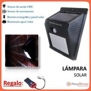 Lámpara Solar 10 Led Sensor Movimiento Para Exterior Gn009