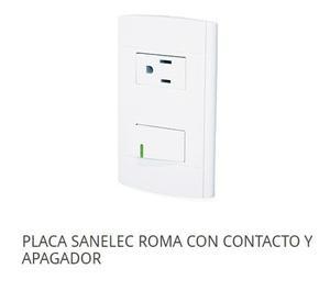 Placa Sanelec Roma Con 1 Apagador Sencillo Y 1 Contacto