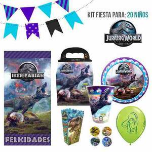 Jurassic World Kit De Fiesta 20 Niños Dulceros Platos