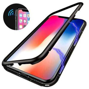 Funda Magnética De Metal Con Vidrio 9h Apple Iphone 7 Y 8
