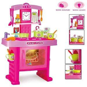 Kit Cocinita Infantil De Juguete Niñas Con Luces Y Sonido
