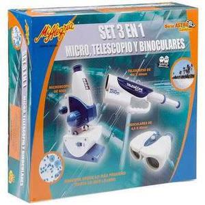 Mi Alegria Set 3 En 1 Micro, Telescopio Y Binoculares Nuevo