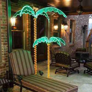 Deluxe Tropical Led Cuerda Light Palm Tree Con Tronco Y...