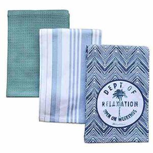 Lenox Tommy Bahama Palm Tree Set Of 3 Kitchen Towels, Blue