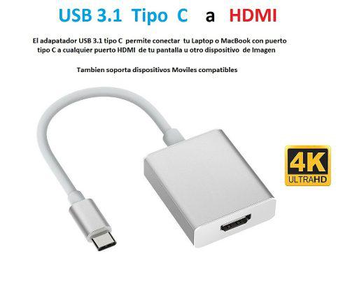 Adaptador Usb 3.1 Tipo C A Hdmi 4k Mac Pc Android